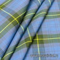 Плащевая с пропиткой (н) серо-желто-зелено-голубая клетка - итальянские ткани Тессутидея
