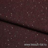 Пальтовая букле (н) серо-белые крапины на светло-бордовом ш-150см - итальянские ткани Тессутидея арт. 09-1197
