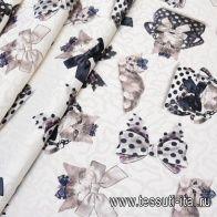 Жаккард (н) кошки и банты на айвори в стиле Monnalisa - итальянские ткани Тессутидея