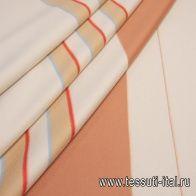 Пальтовая дабл двухслойная купон (1,05м) (н) красно-бежево-голубые полосы Loro Piana - итальянские ткани Тессутидея
