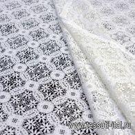 Кружевное полотно макраме (о) белое - итальянские ткани Тессутидея арт. 01-5924
