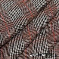 Костюмная дабл (н) черно-бежево-красная стилизованная клетка  - итальянские ткани Тессутидея