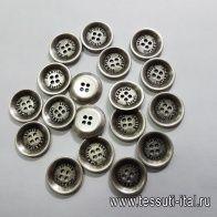 Пуговица металл 4 прокола d-17мм серебро Scervino - итальянские ткани Тессутидея арт. F-5171
