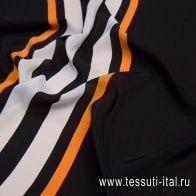 Крепдешин купон (2,14м) (н) бело-оранжевые полосы на черном в стиле Burberry - итальянские ткани Тессутидея