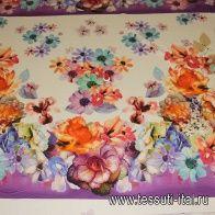 Сатин стрейч купон (1м) (н) крупный цветочный орнамент - итальянские ткани Тессутидея