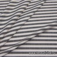 Лен (н) черно-белая поперечная полоска - итальянские ткани Тессутидея