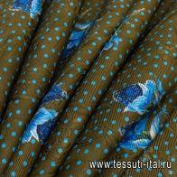 Жаккард дабл (н) белый/синий цветочный орнамент и голубой горох на коричневом - итальянские ткани Тессутидея