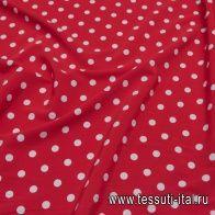Плательная вискоза стрейч (н) белый горох на красном - итальянские ткани Тессутидея