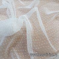 Сетка плательная (о) айвори в мелкий горох - итальянские ткани Тессутидея арт. 03-6510