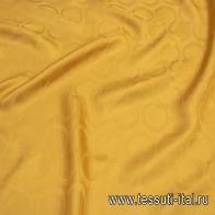 Крепдешин (о) шафрановый с логотипом Cucci - итальянские ткани Тессутидея арт. 10-2197