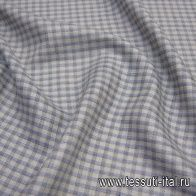 Лен костюмный (н) серо-сине-коричневая клетка - итальянские ткани Тессутидея