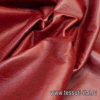 Искусственная кожа на флисовой основе (о) красно-коричневая - итальянские ткани Тессутидея