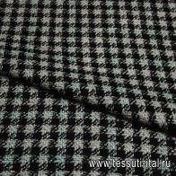 Костюмная (н) черно-бело-зеленая ш-150см - итальянские ткани Тессутидея