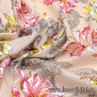 Маркизет (н) цветочный орнамент на бежевом Alberta Ferretti - итальянские ткани Тессутидея
