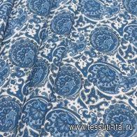 Хлопок стрейч (н) синий цветочный рисунок на белом - итальянские ткани Тессутидея