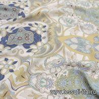 Маркизет купон (0,9м) (н) цветочно-геометрический принт - итальянские ткани Тессутидея арт. 10-2069