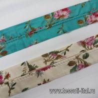 Корсажная лента бежевая, бирюзовая с цветами - итальянские ткани Тессутидея