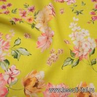 Лен (н) цветочный рисунок на желтом - итальянские ткани Тессутидея