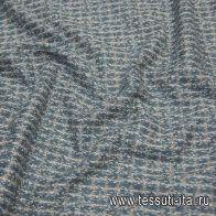Трикотаж (н) бирюзово-бежевый меланж - итальянские ткани Тессутидея
