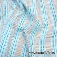 Сорочечная (н) бирюзово-голубая стилизованная клетка - итальянские ткани Тессутидея