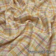 Шанель (н) бело-желто-розово-зеленая стилизованная клетка - итальянские ткани Тессутидея