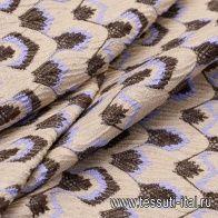 Жаккард (н) сиренево-коричневый орнамент на светло-бежевом - итальянские ткани Тессутидея арт. 03-5548