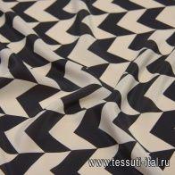 Крепдешин (н) черно-молочный геометрический принт - итальянские ткани Тессутидея