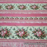 Жаккард (н) розово-молочно-цветочная полоска - итальянские ткани Тессутидея
