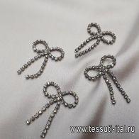 Декоративный бант металл серебро со стразами - итальянские ткани Тессутидея