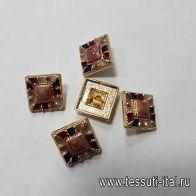 Пуговица квадратная на ножке металл золото мозайка d-18мм  - итальянские ткани Тессутидея арт. F-5160