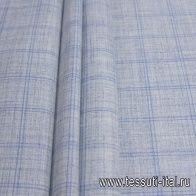 Костюмная (н) бело-голубая меланжевая клетка Loro Piana - итальянские ткани Тессутидея