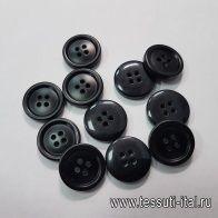 Пуговица пластик 4 прокола d-20мм черная - итальянские ткани Тессутидея арт. F-5399