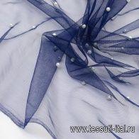Сетка с жемчугом (о) темно-синяя - итальянские ткани Тессутидея