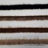 Репсовая лента с мохером (о) коричневая, черная, бежевая ш-2,5см - итальянские ткани Тессутидея
