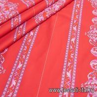 Хлопок купон (0,43м) стрейч (н) розовый орнамент на красном в стиле Versace - итальянские ткани Тессутидея