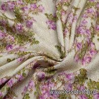 Шанель (н) цветочный орнамент на молочном - итальянские ткани Тессутидея