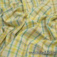 Шанель (н) бело-желто-сине-зеленая стилизованная клетка - итальянские ткани Тессутидея
