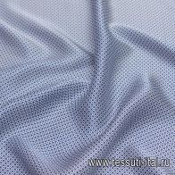 Шелк атлас (н) белый геометрический орнамент на синем - итальянские ткани Тессутидея