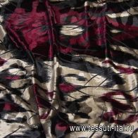 Бархат трикотажный (н) черно-бежево-бордовая абстракция - итальянские ткани Тессутидея