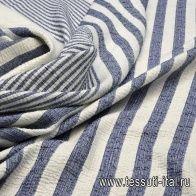 Жаккард с люрексом купон (0,9м) (н) сине-белая полоска - итальянские ткани Тессутидея арт. 03-5462