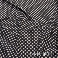 Плательная стрейч (н) черно-молочная диагональная клетка  - итальянские ткани Тессутидея