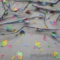 Плательная сетка с вышивкой (н) яркие рыбки на синем - итальянские ткани Тессутидея арт. 03-5358