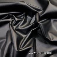 Искусственная кожа на трикотажной основе (о) черная - итальянские ткани Тессутидея
