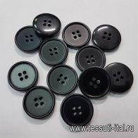 Пуговица пластик 4 прокола d-25мм черная - итальянские ткани Тессутидея