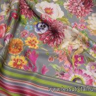 Плательная вискоза (н) полевые цветы на сером - итальянские ткани Тессутидея