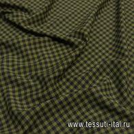 Плательная стрейч (н) черно-зеленая диагональная клетка  - итальянские ткани Тессутидея