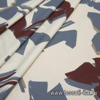Хлопок (н) сине-бордовая абстракция на светло-бежевом - итальянские ткани Тессутидея