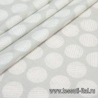 Хлопок стрейч (н) белый стилизованный горох на светло-сером - итальянские ткани Тессутидея