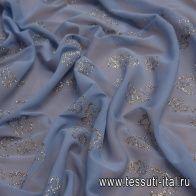 Плательная сетка (н) блестящие бабочки на сиренево-голубом - итальянские ткани Тессутидея