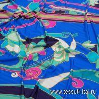 Трикотаж купон (1,35м) (н) сине-розово-бирюзовый цветочный рисунок - итальянские ткани Тессутидея арт. 14-1696